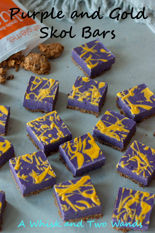 Purple and Gold No Bake Cheesecake Bars