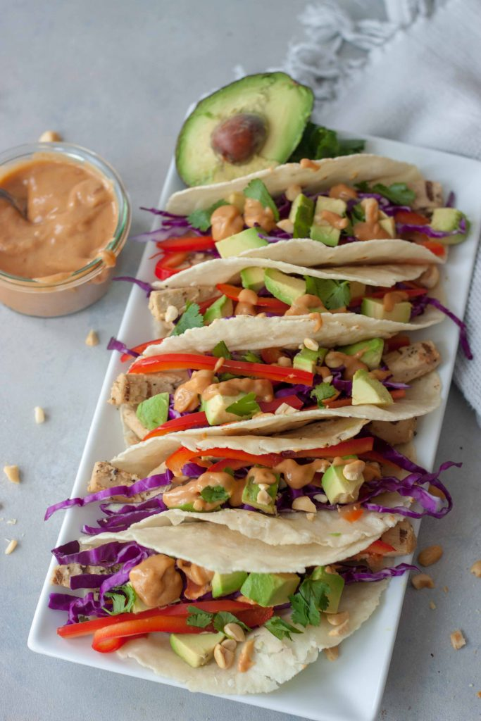 Plate of Vegan Thai Tacos with Thai Peanut Butter Sauce