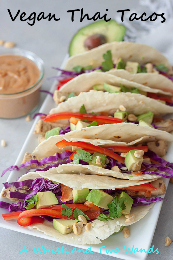Quick and easy Vegan Thai Tacos are packed with flavor and nutrition, perfect for a weeknight dinner (Meatless Monday) or your next fiesta. Gluten free friendly.