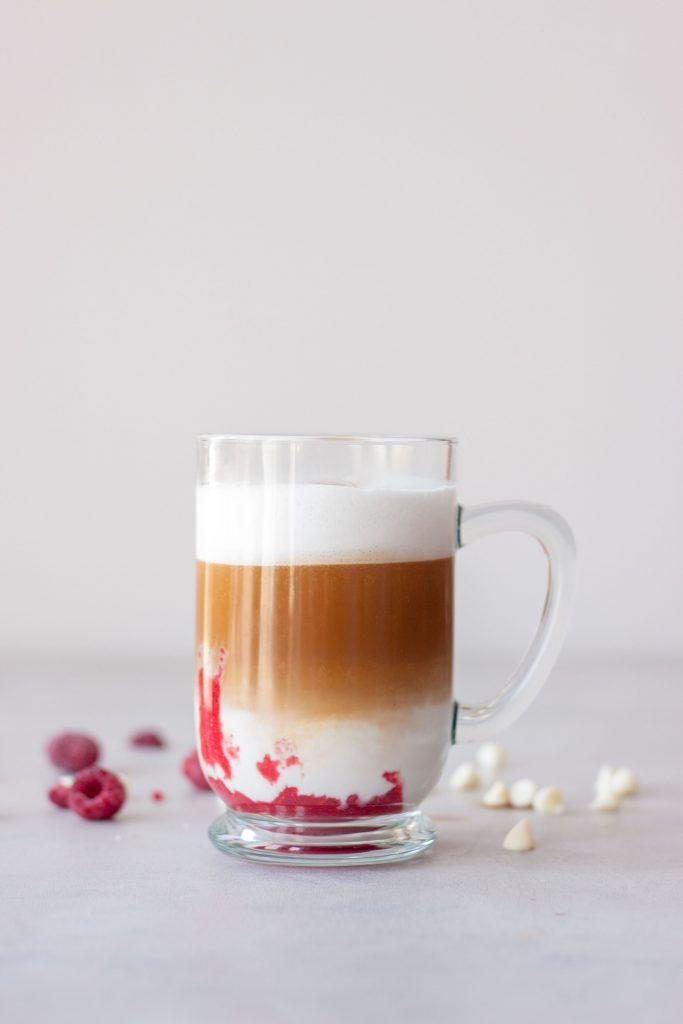 Glass of Dairy Free Raspberry Mocha