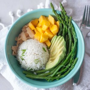 Asparagus, Avocado, Mango, Coconut, Rice in Bowl