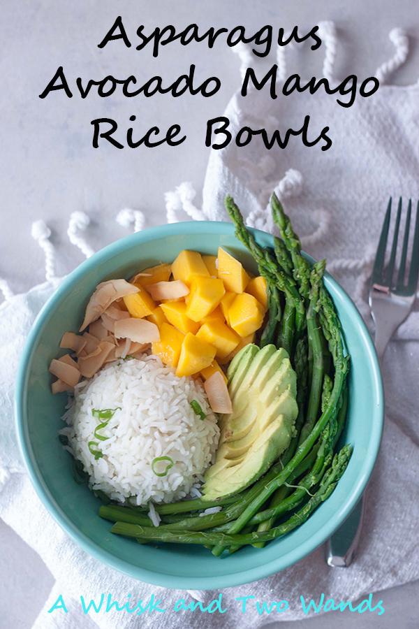 Asparagus, Avocado, Mango, Coconut, Rice in Bowl