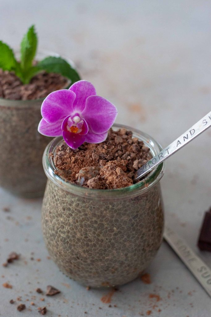 Jar with chia pudding, chocolate, chai, flower and spoon