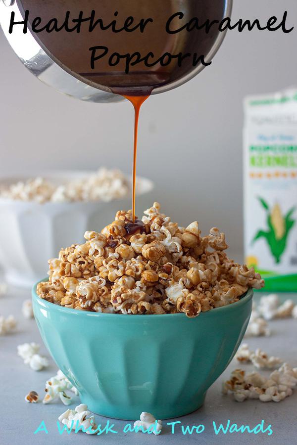 Healthier Caramel Popcorn, drizzling caramel