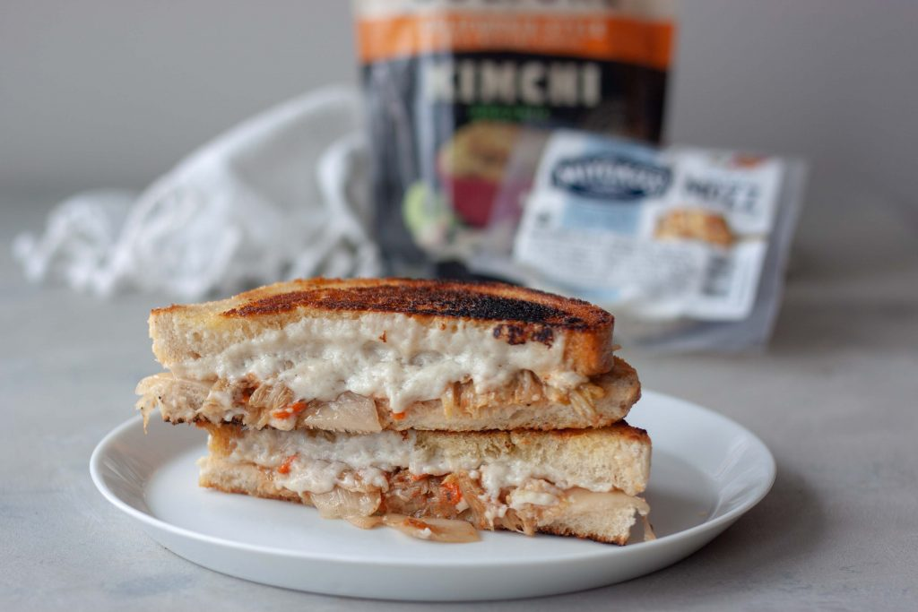 sourdough grilled cheese sandwich with kimchi