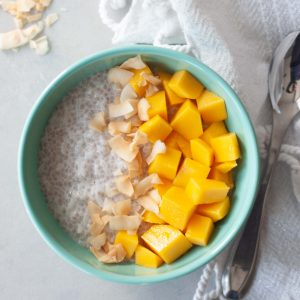 Mango Coconut Chia Rice Pudding with toasted coconut