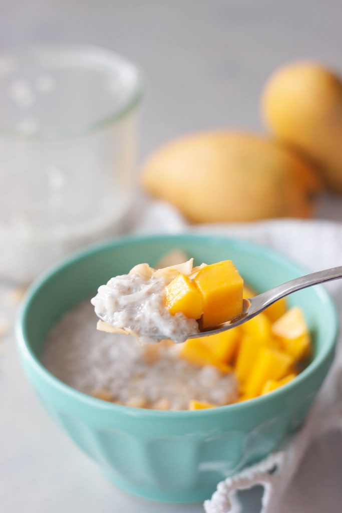 Spoon of Mango Coconut Chia Rice Pudding