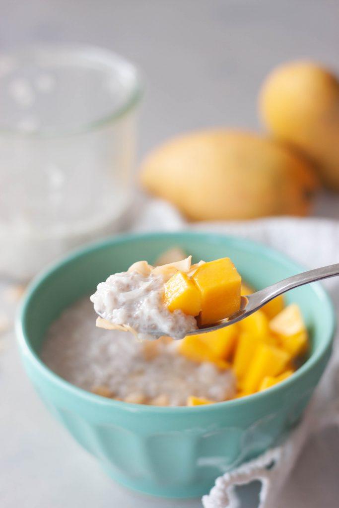 Spoon of Mango Coconut Chia Rice Pudding