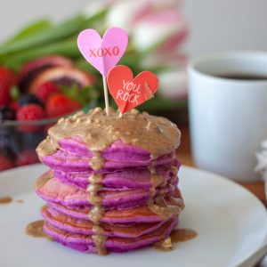 Pretty In Pink Pitaya Pancakes with Maple Caramel Almond Butter