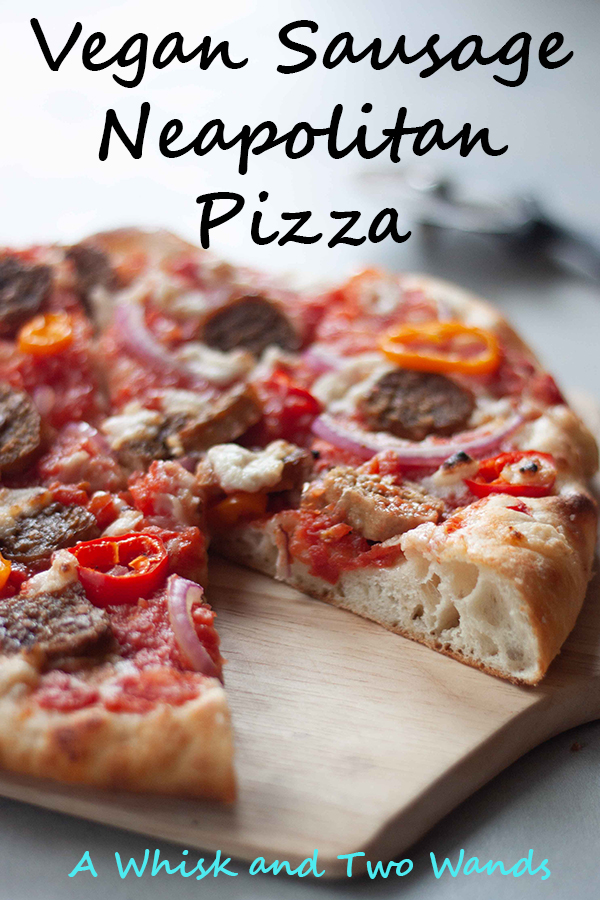 Love pizza night again with this plant-based twist on a classic! This Vegan Sausage Neapolitan Pizza starts with homemade crispy outside chewy inside Neapolitan crust. Topped with sausage, fresh mozzarella, peppers, and onions it's packed with flavor and will surprise even the biggest meat-lover.