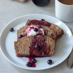 Zucchini Bread French Toast with Blueberry Maple Syrup and coconut yogurt