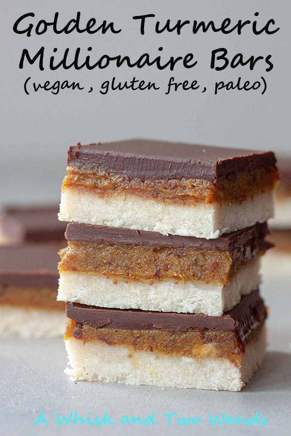 Delicious Golden Turmeric Millionaire Bars are quick and easy to make, no bake, gluten free, paleo, and vegan they're party perfect! Unless you stash these golden bars to enjoy yourself. Nobody will know they're healthy.