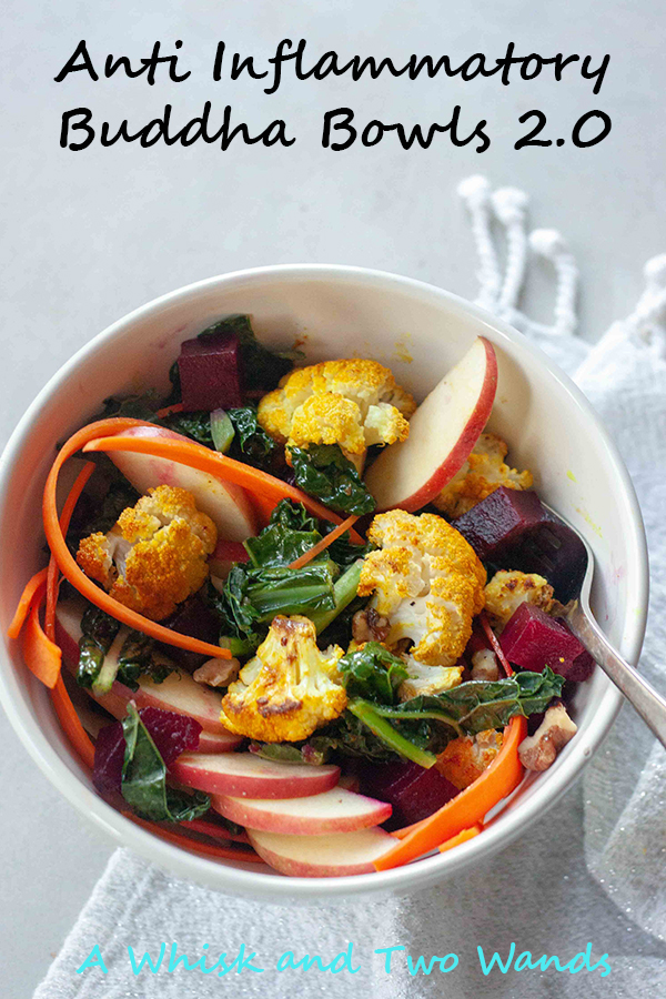 Anti- Inflammatory Buddha Bowls 2.0 are packed with whole food nutrition, texture, flavor that tastes good and good for you! Full of anti-inflammatory benefits this bowl is plant-based, gluten free, and vegan.