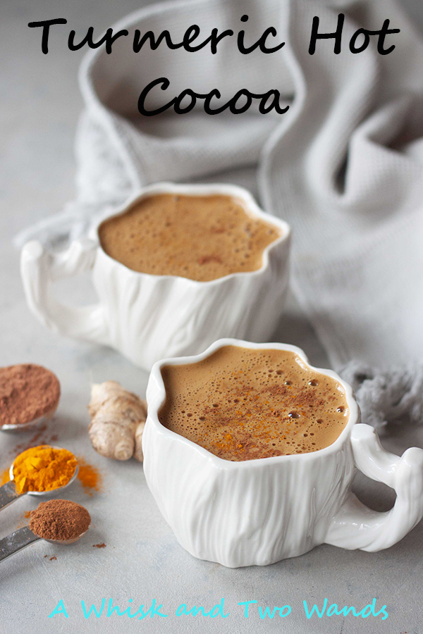 Quick and easy delicious Turmeric Hot Cocoa! Hot Cocoa with health benefits, a little spice, a little bite (from ginger), and everything nice! This dairy free hot cocoa (cacao) is vegan and paleo friendly made with real food ingredients and sweetened with pure maple syrup or honey. Cozy up with a mug and relax with each sip while giving your body a little extra tlc.