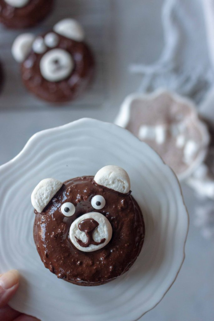 Chocolate Peppermint Bear Donuts