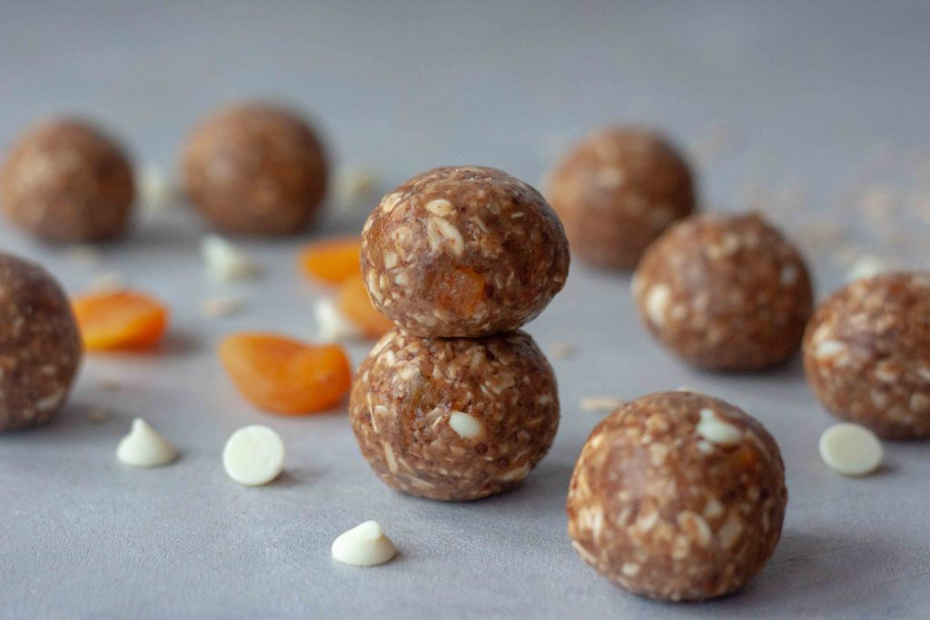 White Chocolate Apricot Oatmeal Lactation Energy Bites