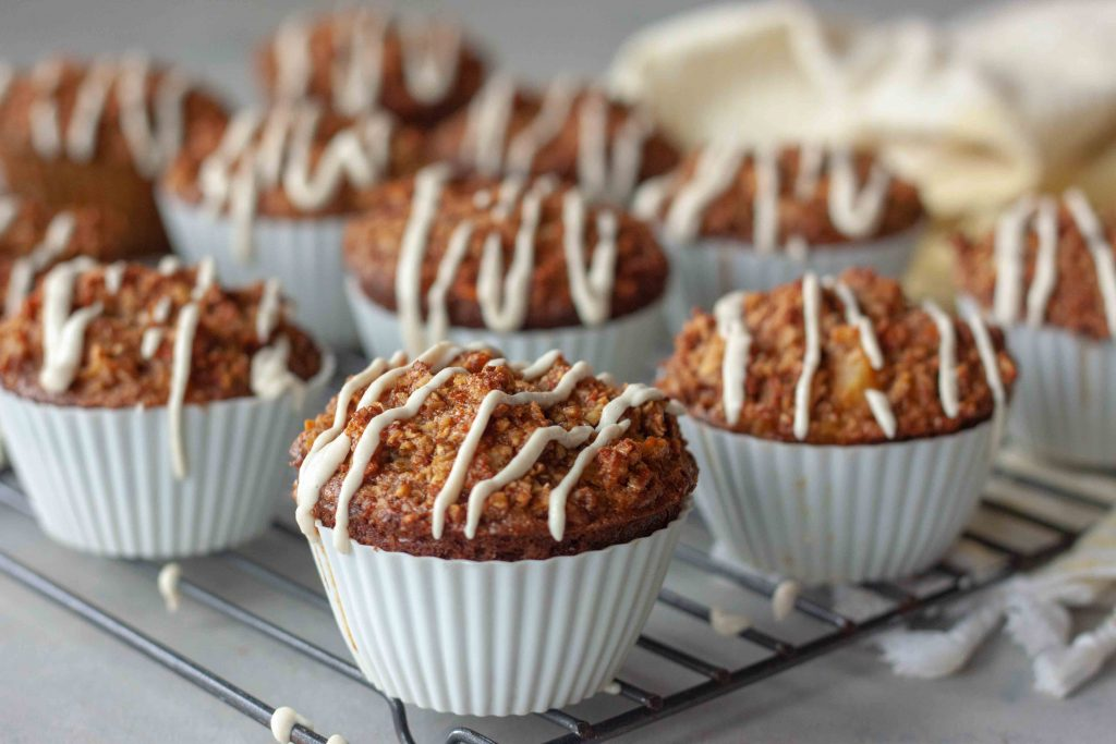 Carrot Cake Oatmeal Muffins with Cashew Cream