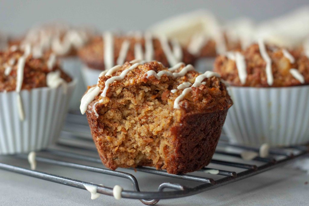Inside of Carrot Cake Oatmeal Muffins with Cashew Cream