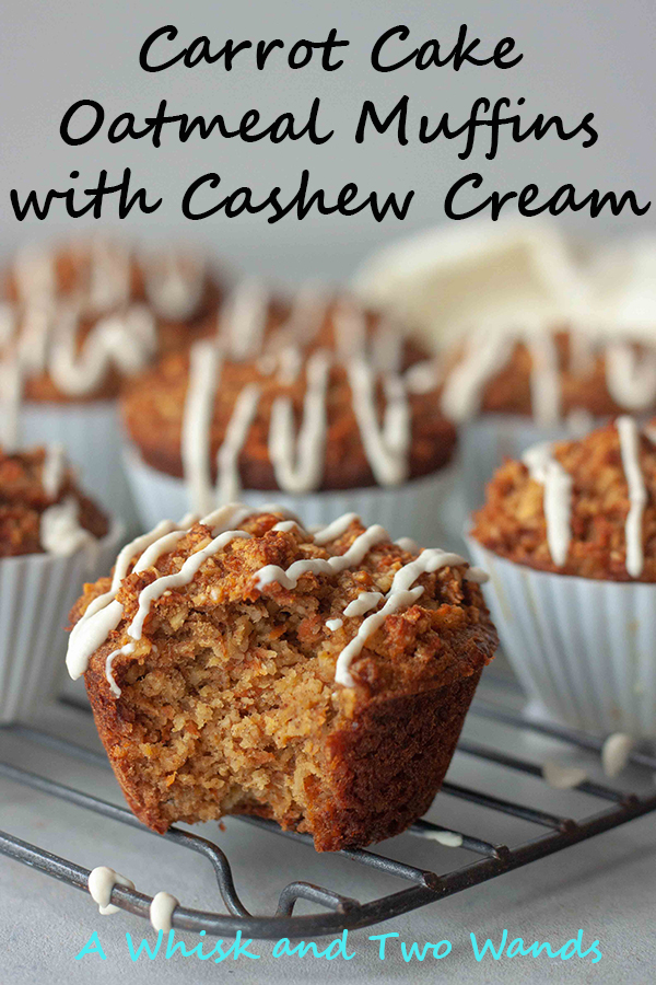 Gluten free and dairy free Carrot Cake Oatmeal Muffins with Cashew Cream are a delicious and healthy breakfast. Easy to make and every bunny will love them!