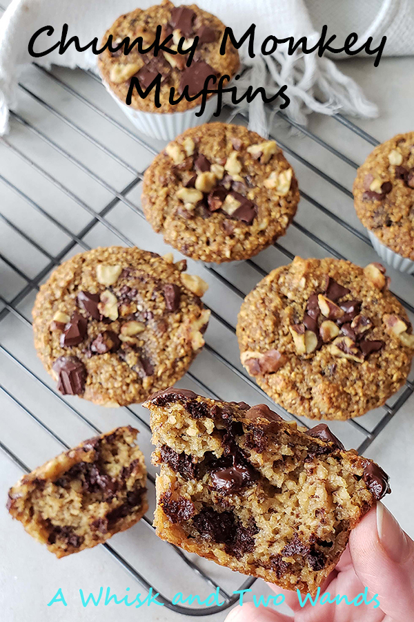 Gluten free and dairy free Chunky Monkey Muffins are delicious banana bread muffins packed with lots of chocolate and walnuts. Easy to make they're a simply healthy breakfast or snack!