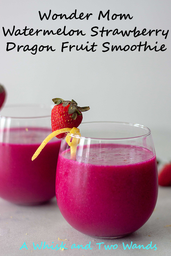 Wonder Mom Watermelon Strawberry Dragon Fruit Smoothie might sound like a mouthful but it's a simple combination of hydrating watermelon water, sweet strawberries, lemon, and pitaya. For a nutritional boost pick one or a couple of the optional add ins to fit your needs.