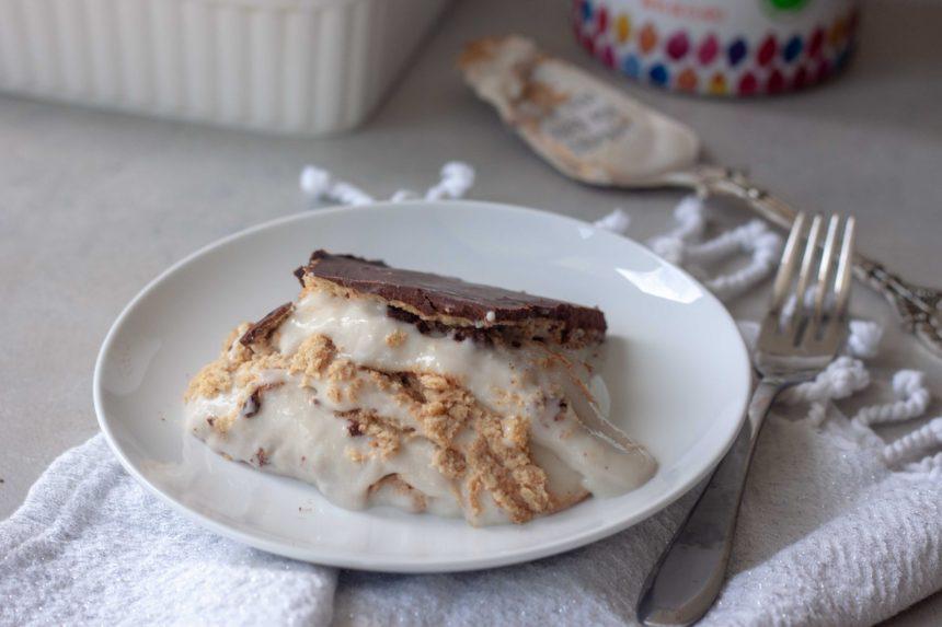 Slice of Eclair Custard Cake