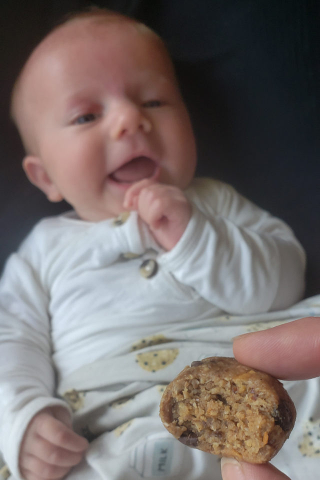 Milk Monster Cookie Dough Bites and baby