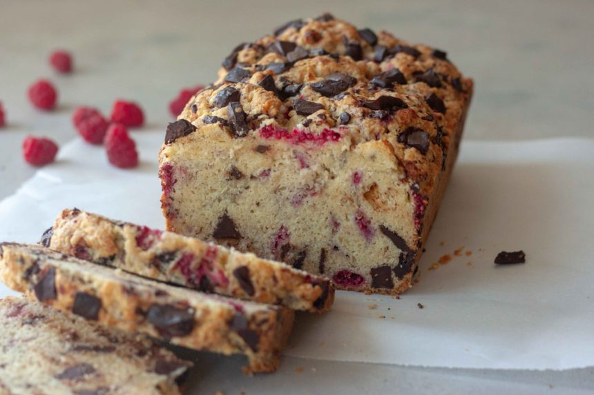 Dark Chocolate Raspberry Scone Loaf sliced