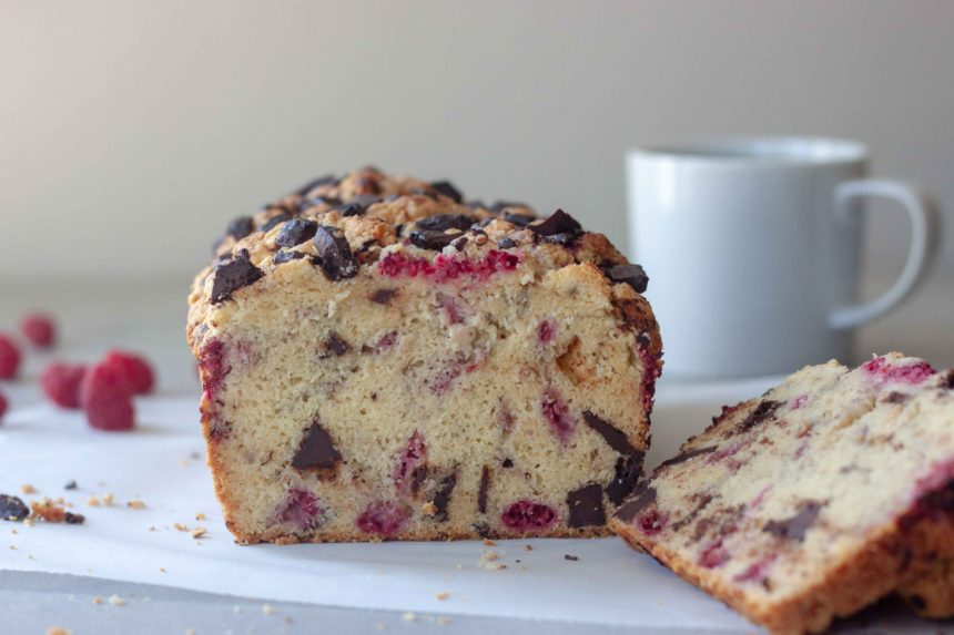 Dark Chocolate Raspberry Scone Loaf with cup of coffee