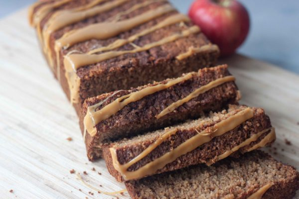 Apple Bread loaf, sliced, with caramel drizzle
