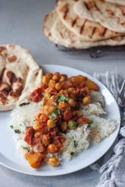 Chana Masala with Pumpkin and Crispy Coconut Rice and homemade Naan Bread
