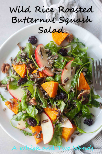 A heartier salads perfect for the cooler days and holidays! Warm roasted squash and wild rice paired with the crisp apples, chewy tart dried cranberries, toasted walnuts, and arugula. This gluten free, vegan, salad can be made ahead and perfect for meal prep.
