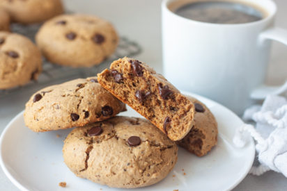 Inside of Not Just The Mama's Cookie and plate of cookies with coffee