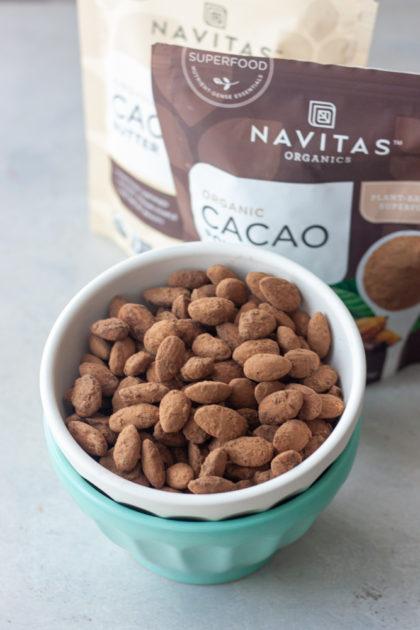 Cacao & Sea Salt Almonds in a bowl