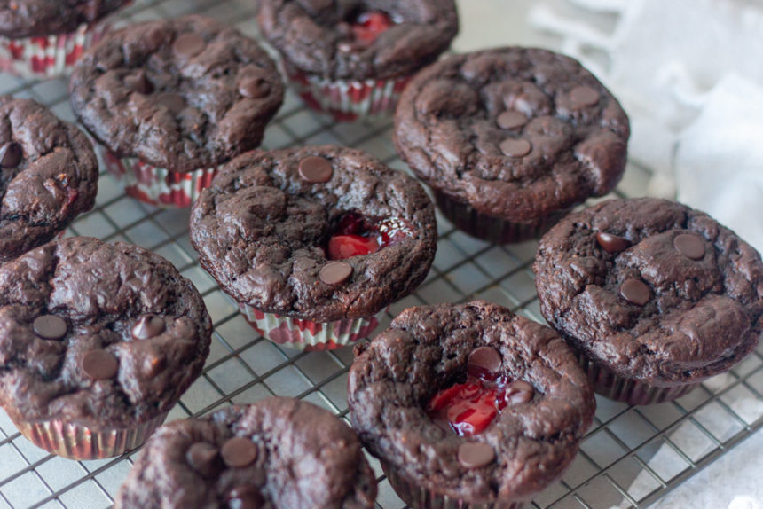 Cooling rack of Chocolate Cherry Oat Muffins