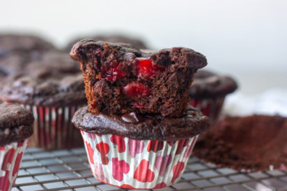 Stacked Chocolate Cherry Oat Muffin showing inside