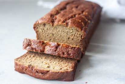 Sliced loaf of Life Is Bananas Blender Banana Bread