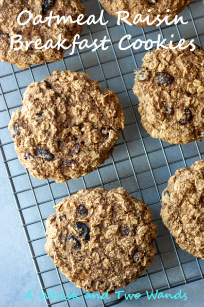 Oatmeal Raisin Breakfast Cookies are quick and easy to make cookies made with simple ingredients you have stocked up in your pantry. No eggs, milk, or butter just a few shelf stable ingredients. Cookies are gluten free, dairy free, and vegan friendly.