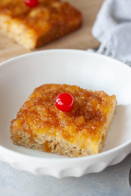 Pineapple Upside-Down Oatmeal Cake in bowl