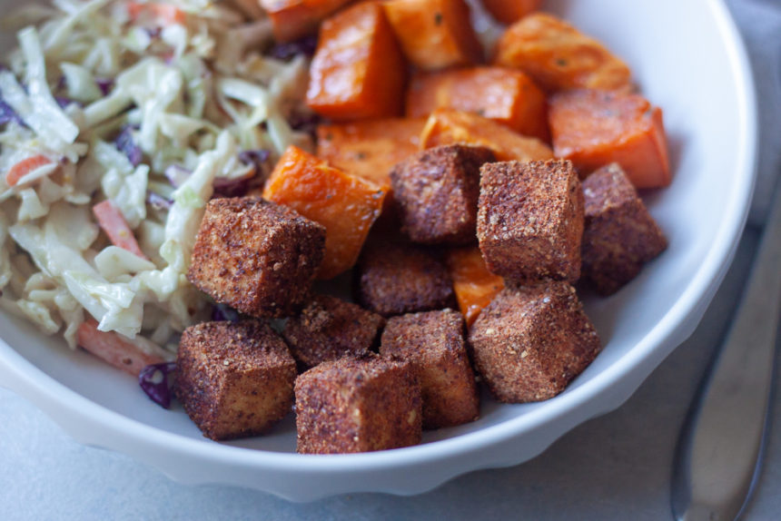 Close up bbq tofu, sweet potato, coleslaw, bowl