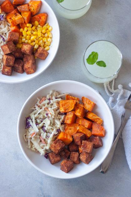 Fork with cripsy BBQ Tofu bowl margarita