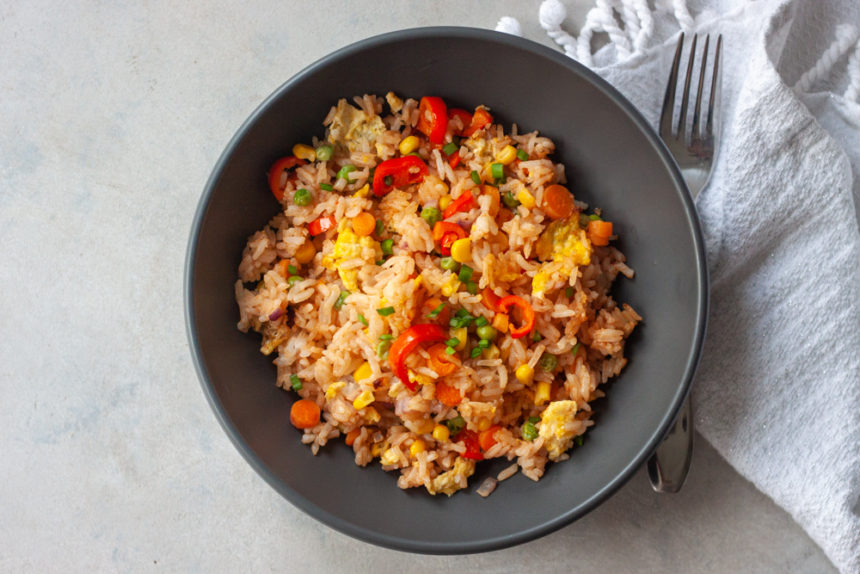 BBQ Fried Rice in bowl with fork