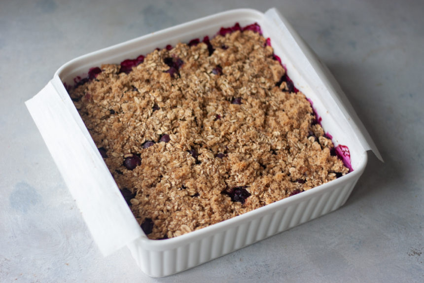 pan of Blueberry Oatmeal Bars