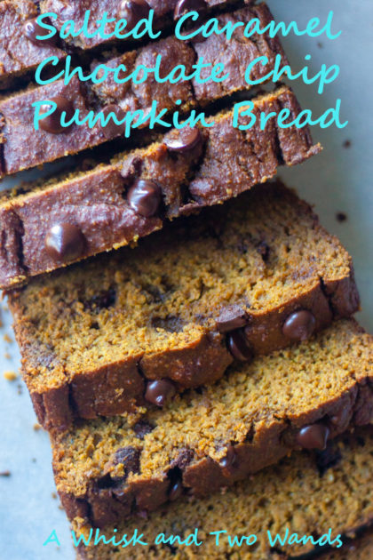 Salted Caramel Chocolate Chip Pumpkin Bread As the temps drop things heat up in the oven with Salted Caramel Chocolate Chip Pumpkin Bread! Simple and delicious another oat based bread perfect for breakfast or an afternoon snack. Gluten free, and dairy free friendly.