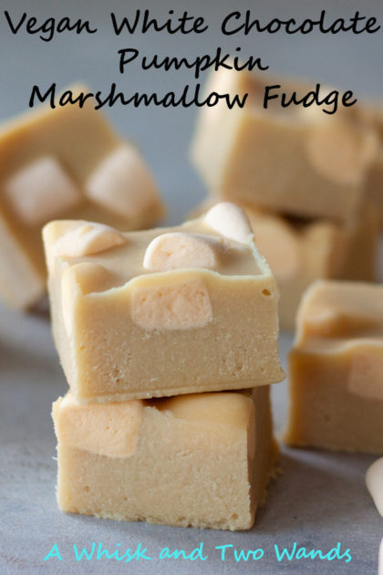 Delicious Vegan White Chocolate Pumpkin Marshmallow Fudge takes only a 15 minutes and 4 ingredients. This vegan, gluten free, dairy-free, and paleo-ish fudge is a healthy treat to keep stashed in the freezer for when those fall sweet tooth cravings hit.