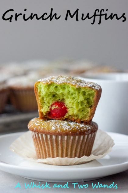Festive and fun Grinch Muffins are flavored with pineapple and pistachio pudding and get their bright green boost of green from frozen spinach. Made with love, and heart, there is a surprise inside to make any Grinch smile.