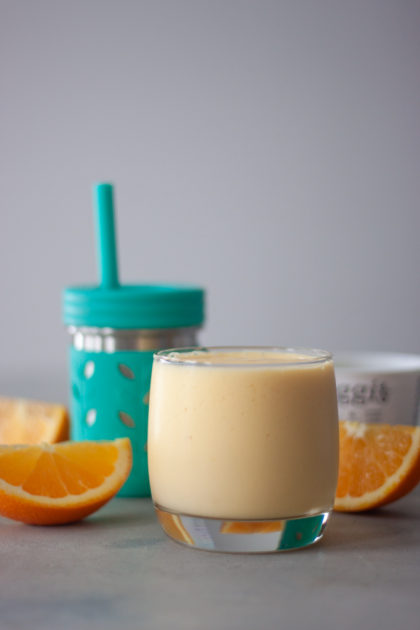 Mango Orange Key Lime Smoothies, toddler cup, orange wedges, yogurt container